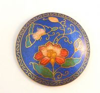 Vintage Large Blue Cloisonne Enamel Flower And Butterfly Brooch.